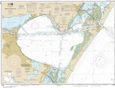 NOAA Chart 11309. Nautical Chart of Corpus Christi Bay - Gulf of Mexico. NOAA charts portray water depths, coastlines, dangers, aids to navigation, landmarks, bottom characteristics and other features, as well as regulatory, tide, and other information.