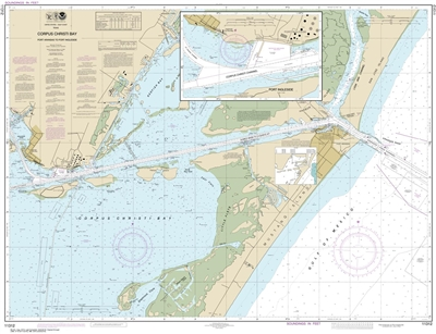 NOAA Chart 11312. Nautical Chart of Corpus Christi Bay - Port Aransas to Port Ingleside - Gulf Coast. NOAA charts portray water depths, coastlines, dangers, aids to navigation, landmarks, bottom characteristics and other features, as well as regulatory, t