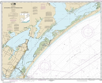 NOAA Chart 11313. Nautical Chart of Matagorda Light to Aransas Pass - Gulf Coast. NOAA charts portray water depths, coastlines, dangers, aids to navigation, landmarks, bottom characteristics and other features, as well as regulatory, tide, and other infor