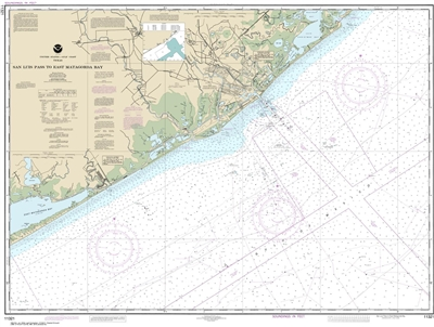 NOAA Chart 11321. Nautical Chart of San Luis Pass to East Matagorda Bay - Gulf Coast. NOAA charts portray water depths, coastlines, dangers, aids to navigation, landmarks, bottom characteristics and other features, as well as regulatory, tide, and other i
