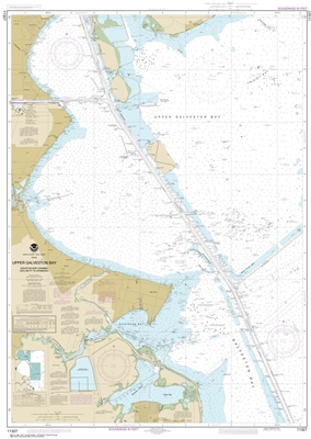 NOAA Chart 11327. Nautical Chart of Upper Galveston Bay - Houston Ship Channel - Dollar Point to Atkinson - Gulf Coast. NOAA charts portray water depths, coastlines, dangers, aids to navigation, landmarks, bottom characteristics and other features, as wel