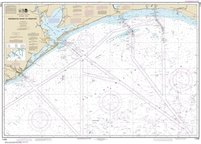 NOAA Chart 11330. Nautical Chart of Mermentau River to Freeport - Gulf Coast. NOAA charts portray water depths, coastlines, dangers, aids to navigation, landmarks, bottom characteristics and other features, as well as regulatory, tide, and other informati