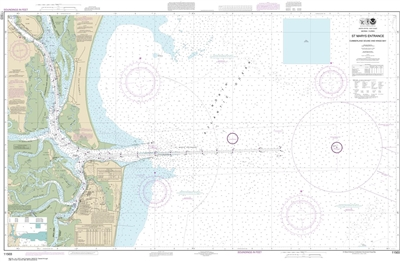 NOAA Chart 11503. Nautical Chart of St Marys Entrance Cumberland Sound and Kings Bay - East Coast. NOAA charts portray water depths, coastlines, dangers, aids to navigation, landmarks, bottom characteristics and other features, as well as regulatory, tide