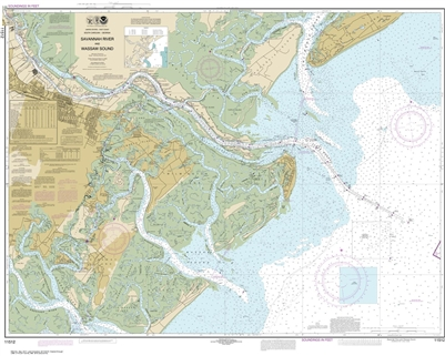 NOAA Chart 11512. Nautical Chart of Savannah River and Wassaw Sound - East Coast USA. NOAA charts portray water depths, coastlines, dangers, aids to navigation, landmarks, bottom characteristics and other features, as well as regulatory, tide, and other i
