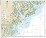 NOAA Chart 11513. Nautical Chart of St Helena Sound to Savannah River - East Coast USA. NOAA charts portray water depths, coastlines, dangers, aids to navigation, landmarks, bottom characteristics and other features, as well as regulatory, tide, and other