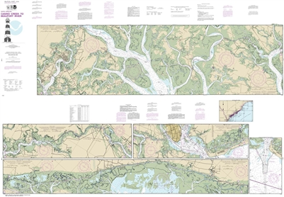 NOAA Chart 11518. Nautical Chart of Intracoastal Waterway Casino Creek to Beaufort River - East Coast USA. NOAA charts portray water depths, coastlines, dangers, aids to navigation, landmarks, bottom characteristics and other features, as well as regulato