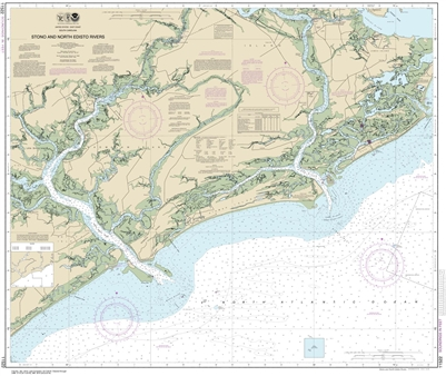 NOAA Chart 11522. Nautical Chart of Stono and North Edisto Rivers - East Coast USA. NOAA charts portray water depths, coastlines, dangers, aids to navigation, landmarks, bottom characteristics and other features, as well as regulatory, tide, and other inf