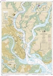 NOAA Chart 11524. Nautical Chart of Charleston Harbor - East Coast USA. NOAA charts portray water depths, coastlines, dangers, aids to navigation, landmarks, bottom characteristics and other features, as well as regulatory, tide, and other information. Th