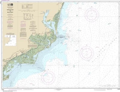 NOAA Chart 11531. Nautical Chart of Winyah Bay to Bulls Bay - East Coast USA. NOAA charts portray water depths, coastlines, dangers, aids to navigation, landmarks, bottom characteristics and other features, as well as regulatory, tide, and other informati
