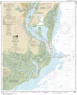 NOAA Chart 11532. Nautical Chart of Winyah Bay - East Coast USA. NOAA charts portray water depths, coastlines, dangers, aids to navigation, landmarks, bottom characteristics and other features, as well as regulatory, tide, and other information. They cont