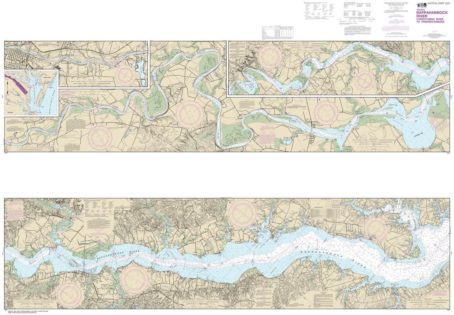 Noaa Chart 12237 Nautical Chart Of Rappahannock River Corrotoman River To Fredericksburg Noaa Charts Portray Water