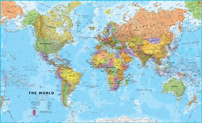 World Wall Map Political - XL. This extra large politically colored world wall map features every country as a different colour. All major towns and cities are featured on our huge map and capital cities are clearly marked. Hill and sea shading add to the