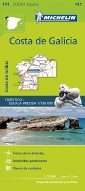 MICHELIN zoom map Costa de Galicia is the ideal travel companion to fully explore this Spanish destination, thanks to its easy-to-use format and its scale of 1/150,000. The Zoom collection are characterized by the high precision of their detailed scale, s