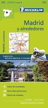 121 - Spain - Madrid area map. MICHELIN zoom map Madrid is the ideal travel companion to fully explore the Spanish capital and its surrounding areas thanks to its easy-to-use format and its scale of 1/170,000. In addition to Michelin's clear and accurate