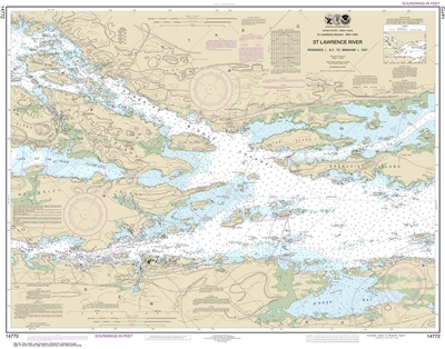NOAA Chart 14772. Nautical Chart of Ironsides lsland, NY to Bingham lsland, ONT . NOAA charts portray water depths, coastlines, dangers, aids to navigation, landmarks, bottom characteristics and other features, as well as regulatory, tide, and other infor