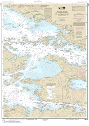 NOAA Chart 14773. Nautical Chart of Gananoque, ONT to St. Lawrence Park. NY. NOAA charts portray water depths, coastlines, dangers, aids to navigation, landmarks, bottom characteristics and other features, as well as regulatory, tide, and other informatio