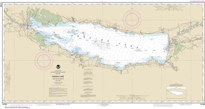 NOAA Chart 14788. Nautical Chart of Oneida Lake - Lock 22 to Lock 23. NOAA charts portray water depths, coastlines, dangers, aids to navigation, landmarks, bottom characteristics and other features, as well as regulatory, tide, and other information.