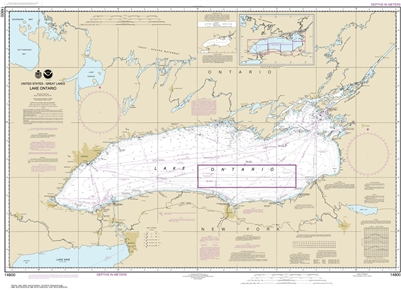 NOAA Chart 14800. Nautical Chart of Lake Ontario. NOAA charts portray water depths, coastlines, dangers, aids to navigation, landmarks, bottom characteristics and other features, as well as regulatory, tide, and other information. They contain all critica