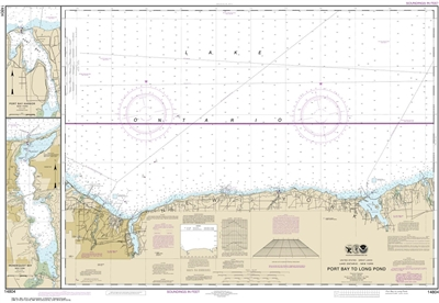 NOAA Chart 14804. Nautical Chart of Port Bay to Long Pond - Port Bay Harbor - Irondequoit Bay. NOAA charts portray water depths, coastlines, dangers, aids to navigation, landmarks, bottom characteristics and other features, as well as regulatory, tide