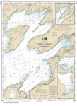 NOAA Chart 14811. Nautical Chart of Chaumont, Henderson and Black River Bays - Sackets Harbor - Henderson on Lake Ontario. NOAA charts portray water depths, coastlines, dangers, aids to navigation, landmarks, bottom characteristics and other features, as