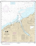 NOAA Chart 14813. Nautical Chart of Oswego Harbor on Lake Ontario. NOAA charts portray water depths, coastlines, dangers, aids to navigation, landmarks, bottom characteristics and other features, as well as regulatory, tide, and other information.