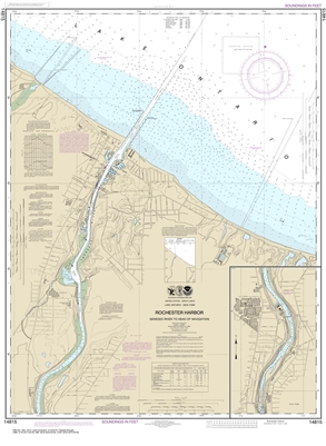 NOAA Chart 14815. Nautical Chart of Rochester Harbor, including Genessee River to head of navigation on Lake Ontario. NOAA charts portray water depths, coastlines, dangers, aids to navigation, landmarks, bottom characteristics and other features, as well