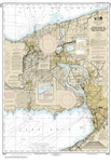 NOAA Chart 14822. Nautical Chart of Approaches to Niagara River and Welland Canal. NOAA charts portray water depths, coastlines, dangers, aids to navigation, landmarks, bottom characteristics and other features, as well as regulatory, tide, and other info