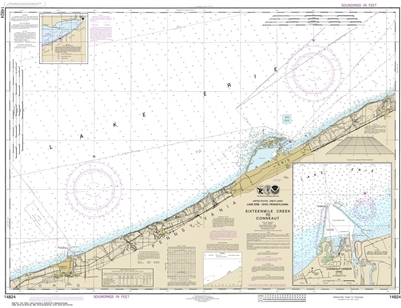 NOAA Chart 14824. Nautical Chart of Sixteenmile Creek to Conneaut - Conneaut Harbor on Lake Erie. NOAA charts portray water depths, coastlines, dangers, aids to navigation, landmarks, bottom characteristics and other features, as well as regulatory, tide,