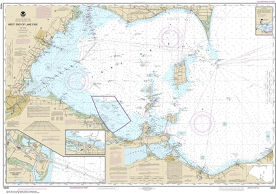 NOAA Chart 14830. Nautical Chart of West End of Lake Erie - Port Clinton Harbor - Monroe Harbor. NOAA charts portray water depths, coastlines, dangers, aids to navigation, landmarks, bottom characteristics and other features, as well as regulatory, tide,