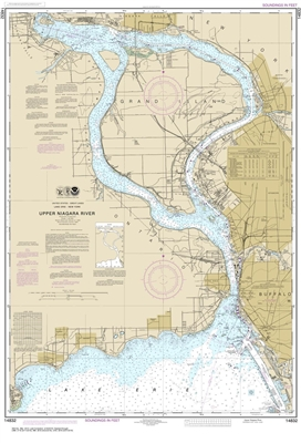 NOAA Chart 14832. Nautical Chart of Niagara Falls to Buffalo. NOAA charts portray water depths, coastlines, dangers, aids to navigation, landmarks, bottom characteristics and other features, as well as regulatory, tide, and other information. They contain