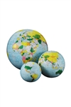 Light Blue Inflatable Globe - 12 inch. Inflatable globes are great fun and an excellent way to learn and teach about the world's features. This globe not only shows the countries by different colour but also the currents in the ocean and how they can shap