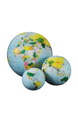 Light Blue Inflatable Globe - 16 inch. Inflatable globes are great fun and an excellent way to learn and teach about the world's features. This globe not only shows the countries by different colour but also the currents in the ocean and how they can shap