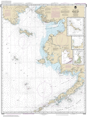 NOAA Chart 16006. Nautical Chart of Bering Sea-eastern part - St. Matthew Island, Bering Sea - Cape Etolin, Achorage, Nunivak Island. NOAA charts portray water depths, coastlines, dangers, aids to navigation, landmarks, bottom characteristics and other fe