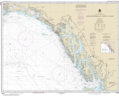 NOAA Chart 16016. Nautical Chart of Dixon Entrance to Cape St. Elias. NOAA charts portray water depths, coastlines, dangers, aids to navigation, landmarks, bottom characteristics and other features, as well as regulatory, tide, and other information. They
