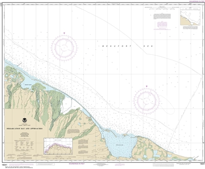 NOAA Chart 16041. Nautical Chart of Demarcation Bay and approaches. NOAA charts portray water depths, coastlines, dangers, aids to navigation, landmarks, bottom characteristics and other features, as well as regulatory, tide, and other information. They c
