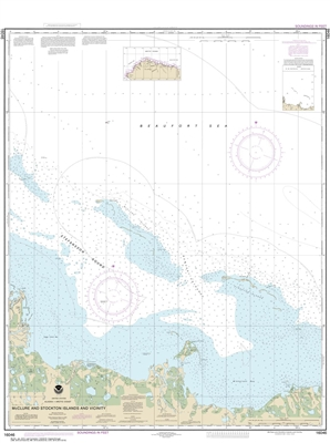NOAA Chart 16046. Nautical Chart of McClure and Stockton Islands and vicinity. NOAA charts portray water depths, coastlines, dangers, aids to navigation, landmarks, bottom characteristics and other features, as well as regulatory, tide, and other informat
