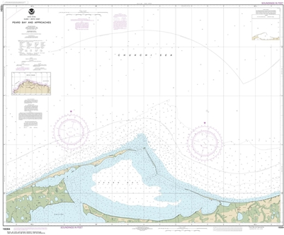 NOAA Chart 16084. Nautical Chart of Peard Bay and approaches. NOAA charts portray water depths, coastlines, dangers, aids to navigation, landmarks, bottom characteristics and other features, as well as regulatory, tide, and other information. They contain