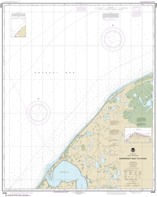 NOAA Chart 16085. Nautical Chart of Wainwright Inlet to Atanik. NOAA charts portray water depths, coastlines, dangers, aids to navigation, landmarks, bottom characteristics and other features, as well as regulatory, tide, and other information. They conta