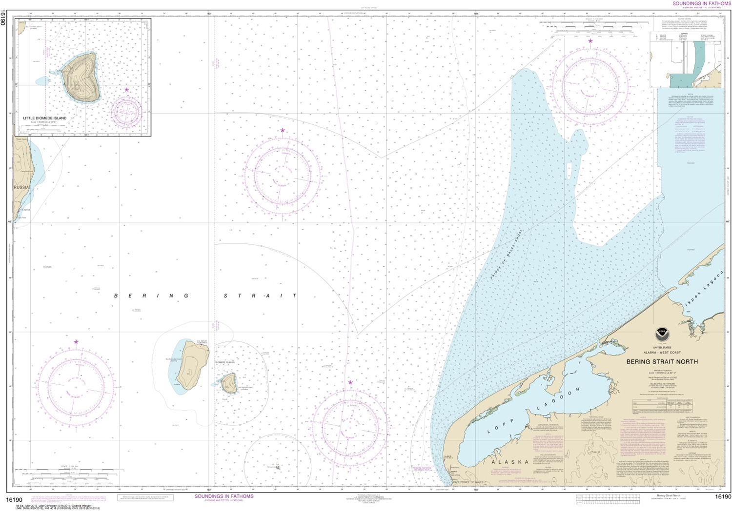 Image of: Noaa Chart 16190 Nautical Chart Of Bering Strait North Little Diomede Island Noaa Charts Portray Water