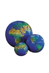 Dark Blue Inflatable Topographical Globe - 27 inch. Inflatable globes are great fun and an excellent way to learn and teach about the world's features. This is a vibrantly colored topographical globe that can captivate viewers of all ages. Very durable.