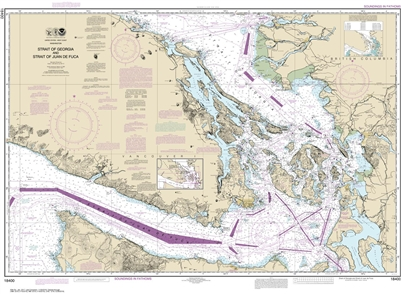 NOAA Chart 18400. Nautical Chart of the Strait of Georgia and Strait of Juan De Fuca. NOAA charts portray water depths, coastlines, dangers, aids to navigation, landmarks, bottom characteristics and other features, as well as regulatory, tide, and other