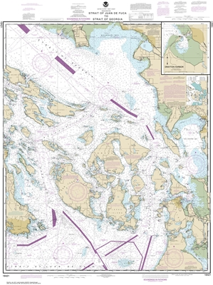 NOAA Chart 18421. Nautical Chart of the Strait of Georgia and Strait of Georgia - Drayton Harbor. NOAA charts portray water depths, coastlines, dangers, aids to navigation, landmarks, bottom characteristics and other features, as well as regulatory, tide