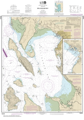 NOAA Nautical Chart 18424. Bellingham Bay. NOAA maps portray water depths, coastlines, dangers, aids to navigation, landmarks, bottom characteristics and other features, as well as regulatory, tide, and other information. They contain all critical correct