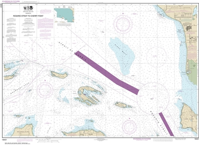 NOAA Chart 18431. Nautical Chart of Rosario Strait to Cherry Point. NOAA charts portray water depths, coastlines, dangers, aids to navigation, landmarks, bottom characteristics and other features, as well as regulatory, tide, and other information. They c