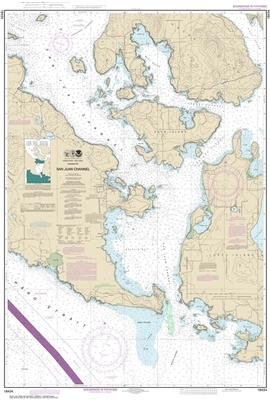 NOAA Chart 18434. Nautical Chart of San Juan Channel. NOAA charts portray water depths, coastlines, dangers, aids to navigation, landmarks, bottom characteristics and other features, as well as regulatory, tide, and other information. They contain all cri
