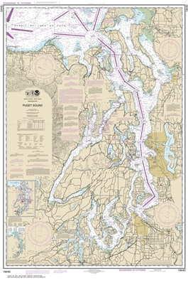 NOAA Chart 18440. Nautical Chart of the Puget Sound. NOAA charts portray water depths, coastlines, dangers, aids to navigation, landmarks, bottom characteristics and other features, as well as regulatory, tide, and other information. They contain all