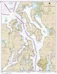 NOAA Chart 18441. Puget Sound - Northern Part Nautical Chart. NOAA charts portray water depths, coastlines, dangers, aids to navigation, landmarks, bottom characteristics and other features, as well as regulatory, tide, and other information. They contain