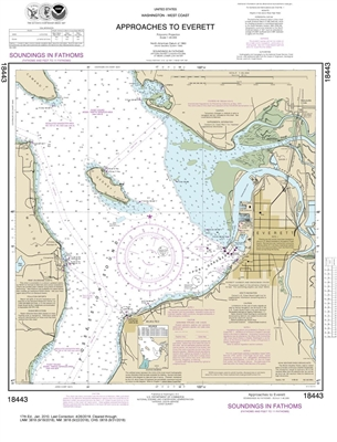 NOAA Nautical Chart 18443. Approaches to Everett. NOAA maps portray water depths, coastlines, dangers, aids to navigation, landmarks, bottom characteristics and other features, as well as regulatory, tide, and other information. They contain all critical