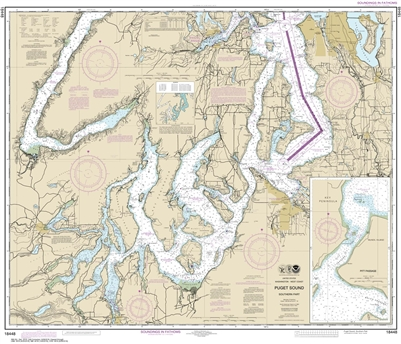 NOAA Chart 18448 Puget Sound Seattle to Olympia Nautical Chart. NOAA charts portray water depths, coastlines, dangers, aids to navigation, landmarks, bottom characteristics and other features, as well as regulatory, tide, and other information. They conta