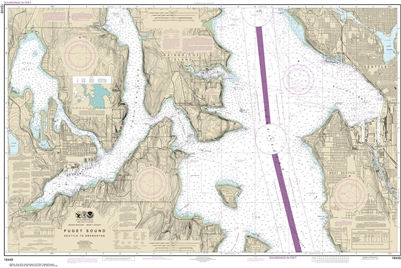 NOAA Chart 18449. Nautical Chart of Puget Sound - Seattle to Bremerton. NOAA charts portray water depths, coastlines, dangers, aids to navigation, landmarks, bottom characteristics and other features, as well as regulatory, tide, and other information. Th